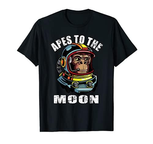 Simios a la Luna HODL Simios juntos diamantes fuertes manos Camiseta