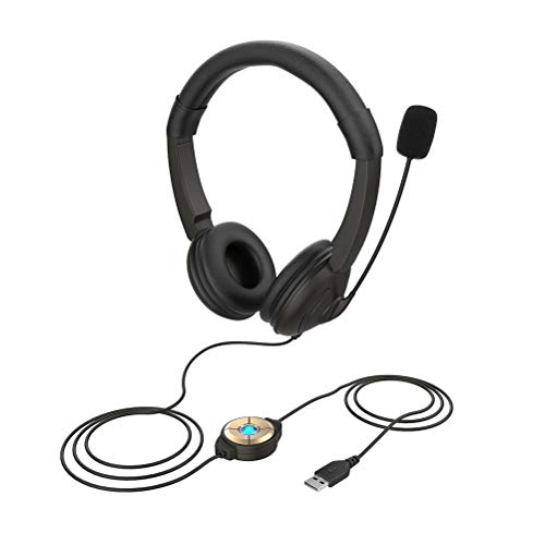 KAMLIKE Headphones USB Headset with Microphone PC Headset for Business Conference Call Center Office School