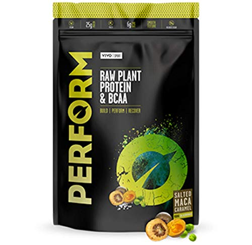 Vivo Life Perform - Raw Vegan Protein Powder | Pea & Hemp Protein Blend with BCAA | Gluten & Soy Free Protein Shake (Salted Caramel Maca, Small)