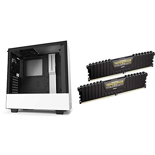 NZXT H510 - CA-H510B-W1 - Compact ATX Mid-Tower PC Gaming Case - White/Black & Corsair Vengeance LPX 16GB (2x8GB) DDR4 DRAM 3000MHz C15 Desktop Memory Kit - Black (CMK16GX4M2B3000C15)