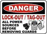 Danger Lock-Out/tag-Out All Power Sources Before Removing guardsFoam Board Water Proof with Double Sided Sticker