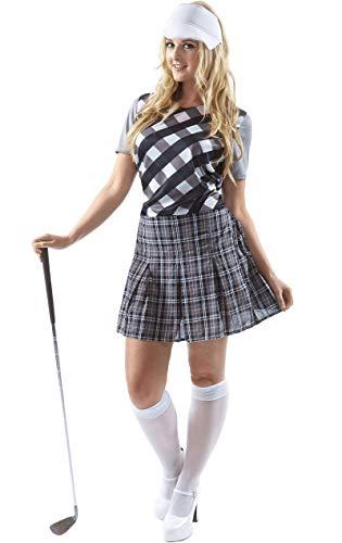 Disfraz de Jugador de Golf de Taberna Blanco Y Negro para Mujeres