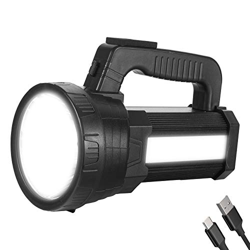 Super Bright LED Spotlight Flashlight Rechargeable 10000mAh 6000 High Lumens Long Lasting Spot Light CREE Waterproof Tactical Torch, 5 Light Modes Side Floodlight, Handheld Searchlight with USB Output