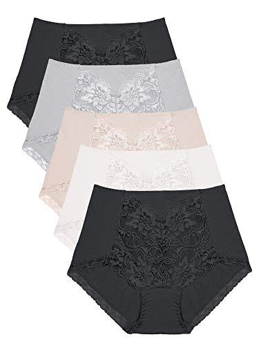 Intimate Portal Komfort Modale Baumwolle Wäsche mit Spitze Frauenslips Damenslip 5er Pack Schwarz Schwarz Beige Grau Weiß DE M/Etikett L