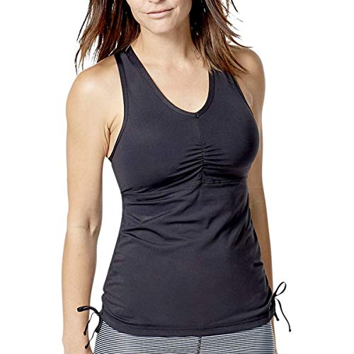 UV SKINZ Women's UPF 50+ Ruched Tankini Top - Black - M