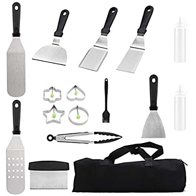DEKOOL Grilling Accessories BBQ Tool Set, 14Pcs Griddle Accessories Kit Stainless Steel Grill Utensils Set with Spatula, Scraper, Bottle, Tongs, Egg Ring, Grilling Kit for Barbecue with Carry Bag