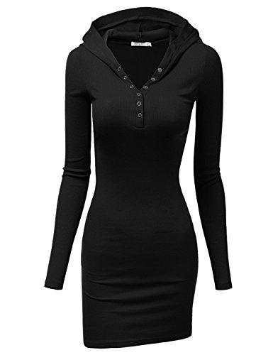 Doublju Womens Long Sleeve Henley Neck Basic Hoodie Dress Black Medium