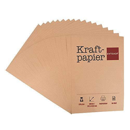 Papel kraft, 50 hojas, DIN A3, cartón natural, alta calidad, marrón natural, cartón kraft de 170 g de calidad