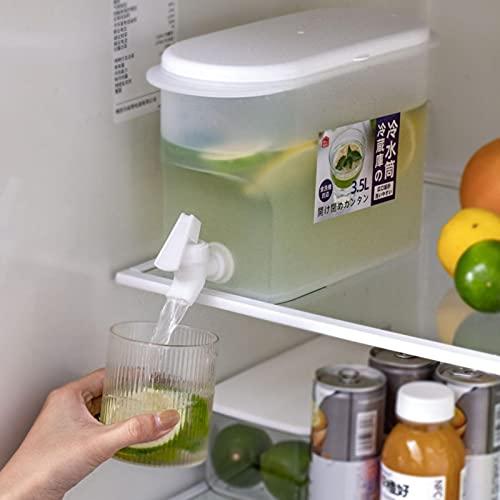 Jarra de burbujas frías para frigorífico de 3,5 litros con grifo, jarra de agua fresca con frutas, no tóxica y duradera, portátil para infusor de agua helada de verano con tapa para soda y frutas