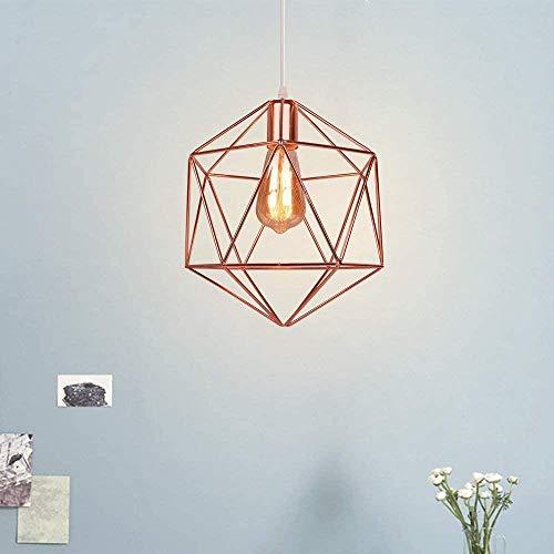 Diseño industrial vintage Lámpara colgante Diamante Jaula geométrica Lámpara de techo Pantalla de metal E27 Accesorio de iluminación Iluminación Decoración 25CM Negro-Oro rosa