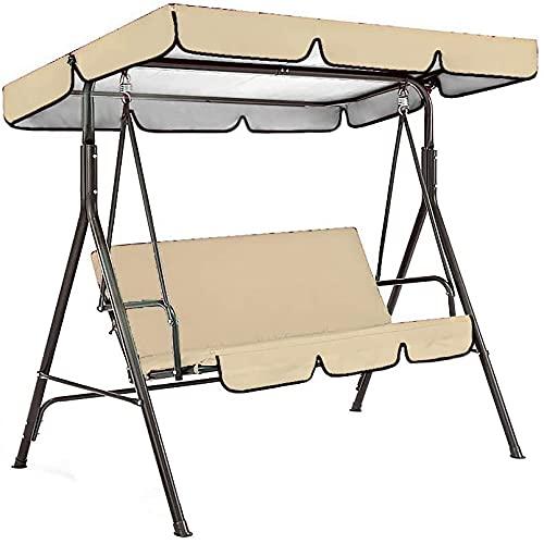 JAJ Juego de funda de columpio para patio al aire libre, impermeable, cubierta superior de asiento + funda de asiento para jardín y patio, cubierta superior de 190 x 132 cm