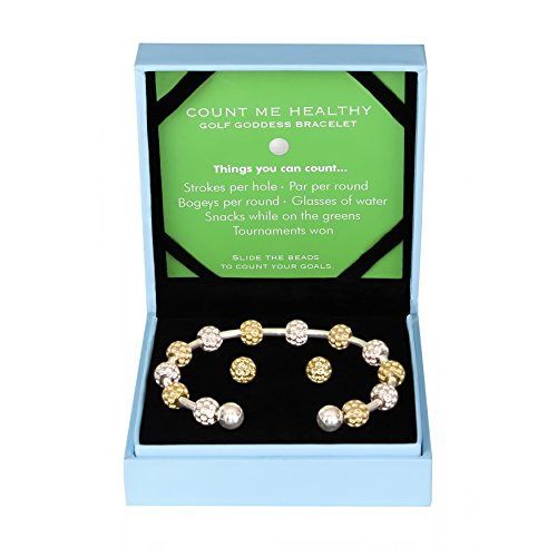 Golf Goddess Stroke/Score Counter Bracelet Gift Set - Two Tone Golf Ball Bead with Gold Golf Ball Earrings 14k Gold Golf Bag