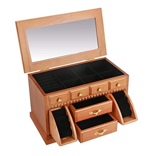 LIBILAA multifunctionele massief houten riem slot doek kist sieraden doos pareldoos, wit Hout