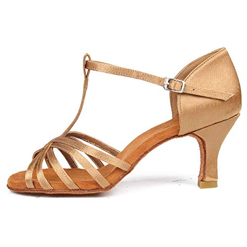 Price comparison product image SWDZM Women's Standard Latin Dance Shoes, 2.76'' Heel, T-Strap Dance Sandals Shoes Model-331 Beige 5 US