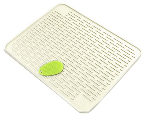"""Tortuga Home Goods XXL Dish Mat 23"""" x 18"""" (Largest MAT) Durable Silicone Dish Drying Pad with Stay Clean Scrubby   Dish Washer Safe   Heat Resistant Trivet   (Pure White)"""