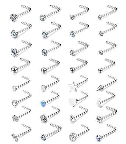 32 piezas de acero inoxidable en forma de L para la nariz de las mujeres cz bola ópalo luna estrella corazón labret Stud Set Body Piercing joyería 20g