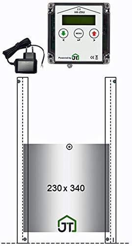 JOSTechnik automatische Hühnerklappe HK2, echte Nothalt- bzw. Notöffnungsfunktion, Anlocklicht-Steuerung, Klappe 230x340 mm