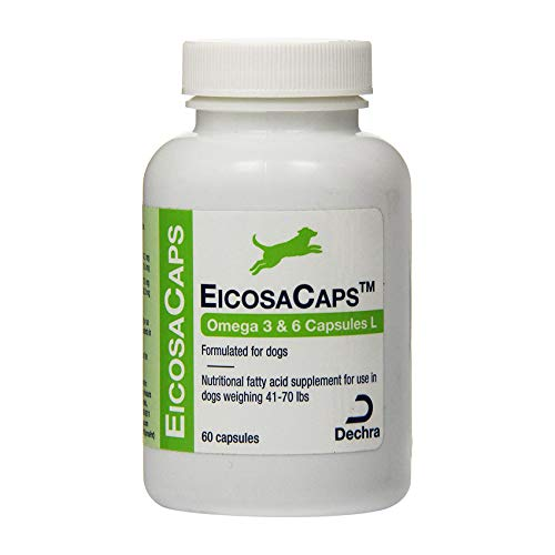 Dechra EicosaCaps Omega 3&6 Capsules L, for Dogs Under 40 lbs, 60 Count, Model Number: 1810053