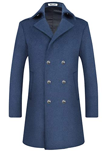 Mens Wool Trench Coat Winter Blend Top Pea Coat Long Double Breasted Classic Stylish Business Overcoat (1963) - Blue Lapel S