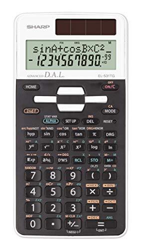 Sharp EL-506TS-WH Wissenschaftlicher Schulrechner (D.A.L.-Eingabe, Solar-/Batteriebetrieben) weiß