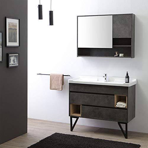 mobile bagno industriale MOBILE BAGNO A TERRA 101CM CON LAVABO STILE INDUSTRIAL SPECCHIO | VIENNA