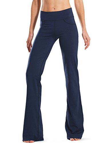 Safort Regular/Tall Bootcut Yoga Hose mit 71cm/76cm/81cm/86cm Schrittlänge, 4 Hosentaschen, Blau, L