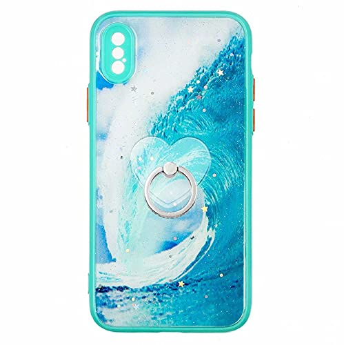 Miagon Bling Glitzer Funkeln Hülle für iPhone XS Max,Handyhülle Modedesign Hart PC Zurück Bumper Schutzhülle mit 360 Ring Ständer,Meer