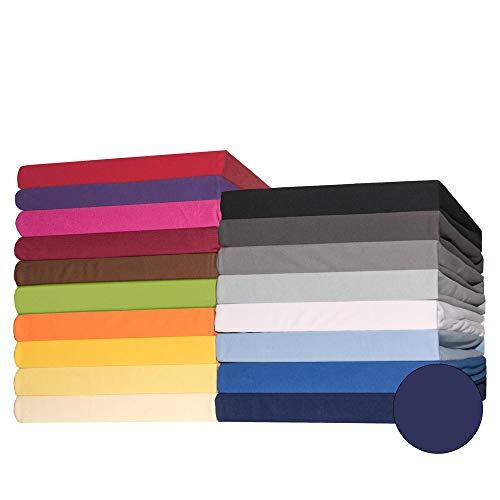 CelinaTex Lucina Topper Spannbettlaken 200x200-200x220 cm dunkel blau Baumwolle Spannbetttuch