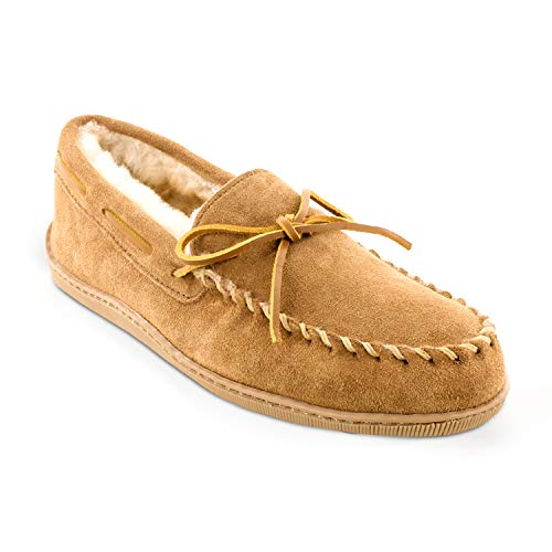 Minnetonka Men's Golden Tan Sheepskin Hardsole Moccasin 15 D(M) US
