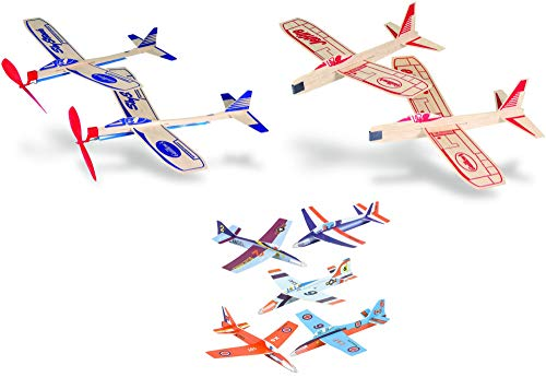 Balsa Wood and Foam Toy Airplane Set - 4 Balsa Wood and 6 Foam Model Plane Kits in 1 Set - Guillows Jetfire Plane Twin Set, Sky Streak Propeller Plane Twin Set, and 6 Foam Fighter Gliders