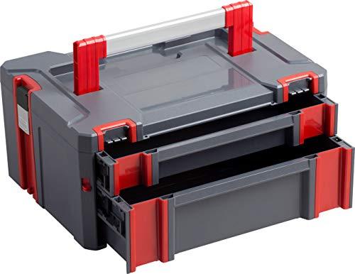 Connex Systembox - Mit zwei Schubladen - 13,5 Liter Volumen - 80 kg Tragfähigkeit - Individuell erweiterbares System - Stapelbar - Aus robustem Kunststoff / Stapelbox / Werkzeugkiste / COX566208