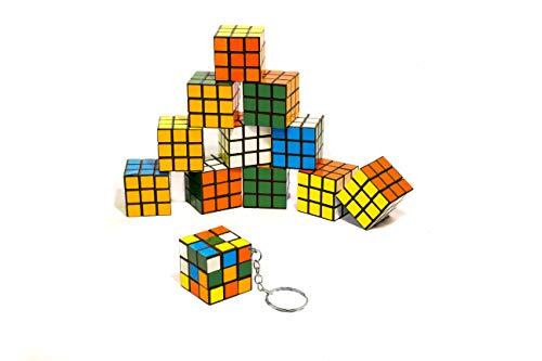 Flanacom Zauberwürfel Magic Cube Mini 3x3 12er Set Original Brainteaser Spiele für Unterwegs Kinder Geduldspiel (Schlüsselanhänger)
