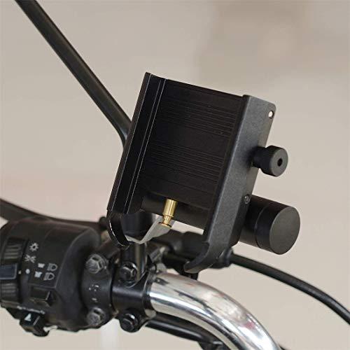 LILICEN Soporte for teléfono móvil de la Motocicleta de aleación de Aluminio con el Banco de la energía CS-868B1, Espejo Titular Versión (Negro) (Color: Negro)
