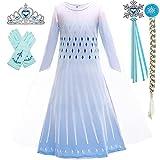 BanKids Disfraz infantil de Elsa de Frozen, vestido de princesa con peluca, corona, pistón, guantes, 6-7 años (130,K31)