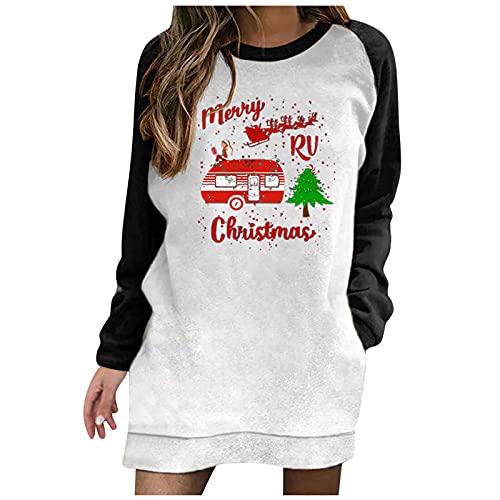 BIKETAFUWY Vestido de Navidad para mujer, diseo de reno de Navidad, con impresin Ugly, vestido de manga larga, con bolsillos, Negro., XXL