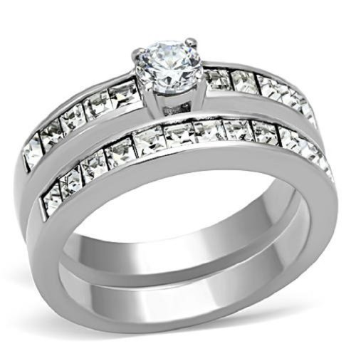 Doublebeez Jewelry Stainless Steel Cubic Zirconia Matching Engagement...