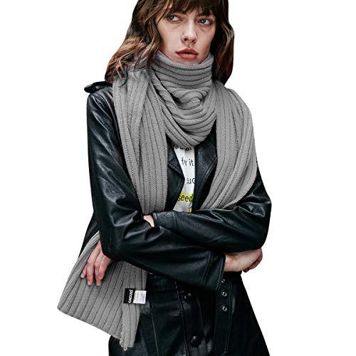 CACUSS Unisex Winter Long Thick Cable Knitted Scarf Soft Warm Scarves for Cold Weather (Light gray) …