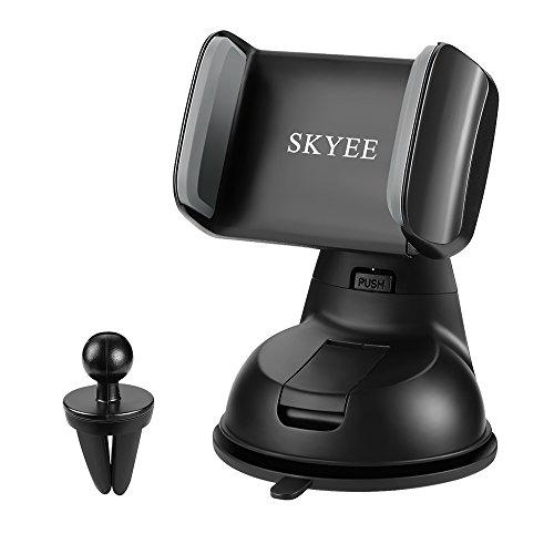 SKYEE Soporte Movil para Coche con Ventosa, [2 en 1] Soporte Télefono Coche para Parabrisas/Salpicadero/Rejilla de Ventilaciónde Giro 360 Grados Universal para iPhone X 8/8 Plus, GPS y Otros Movíles