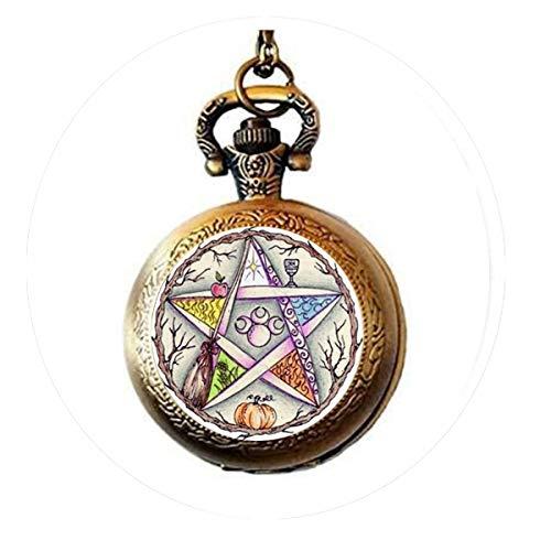 bab Esoterik Pentagramm Halskette Pentagramm Anhänger Schmuck Glaskuppel Taschenuhr Halskette