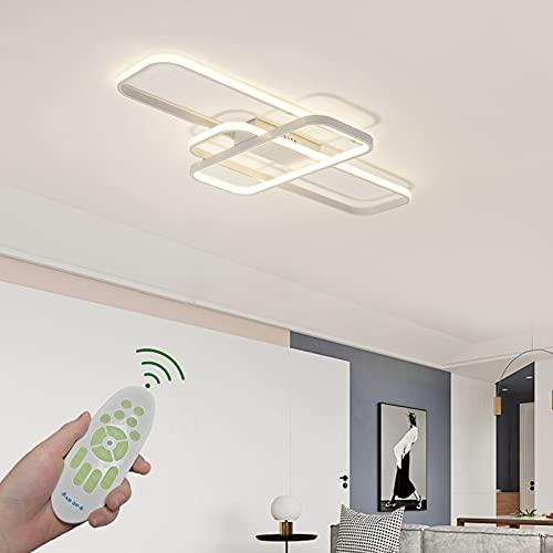 Lámpara LED regulable para salón con mando a distancia, color de la luz/luminosidad ajustable, moderna, creativa, metal acrílico rectangular, diseño de techo, lámpara decorativa, 105 x 70 cm