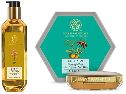 Forest Essentials Kashmiri Saffron and Neem Delicate Facial Cleanser, 200ml & Forest essentials Luscious Lip Balm Narangi Glaze 4g