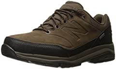Solid Upper: Whether you're hiking or exploring the city, the New Balance 1300v1 walking shoe has you covered with a strong leather upper design that offers durability and a comfortable, secure fit Water and Debris-Free Construction: These outdoor sh...