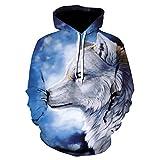 EFGHK Night Snow Wolf Pattern 3D Printing Hoodie Running Otoño Invierno Hoodie...