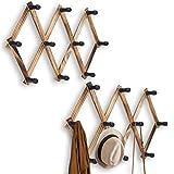 WGFKVAS Expandable Coat Rack 2pcs, Wooden Wall Mounted Hat Rack, Accordion Wall Hangers Hat Hooks for Keys, Hat, Jackets, Coffee Mug, Purses, Necklaces, Towels, Cap, Leash, Scarves, Kitchenware, Bag