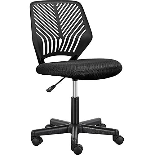 Yaheetech Bürostuhl Schreibtischstuhl ohne Armlehnen Drehstuhl Jugenddrehstuhl mit Rücklehne Arbeitsstuhl höhenverstellbar, 136 kg belastbar Schwarz