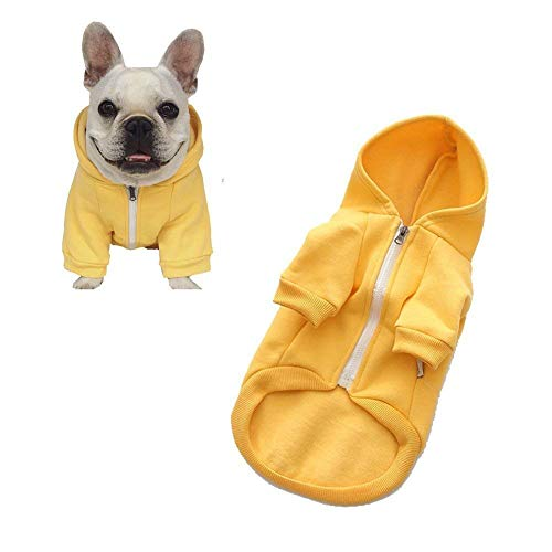 meioro Dog Clothes Hoodies Pet Cat Warm Soft Cotton Zipper Sweater Coat French Bulldog Pug (M, Yellow)