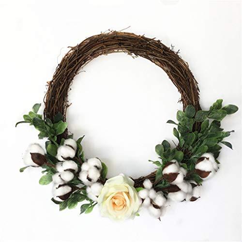 Cgration Künstliche Blumen Baumwolle Rosenkranz Frühlingskranz Outdoor für Haustür Wand Fenster Party Hochzeit Dekor
