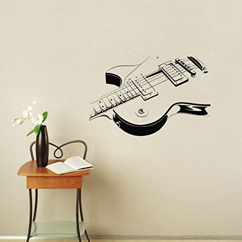 yaonuli E-Gitarre Wandaufkleber Vinyl Selbstklebende Musikinstrument Wandtattoo Wohnzimmer 98X42cm