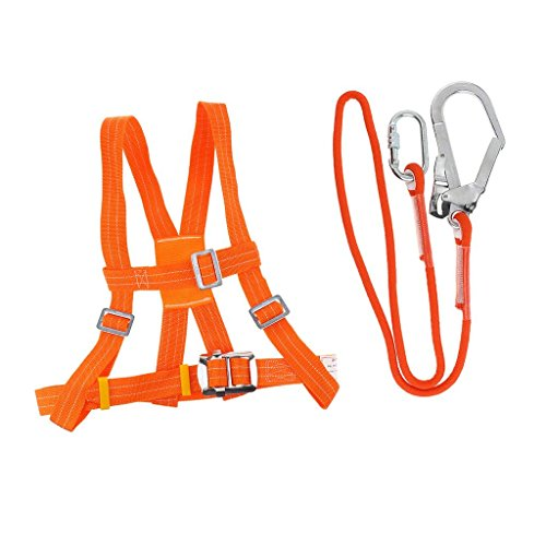 Kit di imbracature di sicurezza anticaduta, imbracatura a 5 punti e cintura regolabile con gancio per arresto anticaduta con cordino di sicurezza (5m,