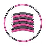 Benefast Fitness Hula Hoop para Adultos niños Hula Hoops Suaves para Ejercicio, Entrenamiento, 8 Secciones, Desmontables, Ajustables para Perder Peso (Rosa Gris)